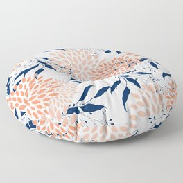 Floral Prints and Leaves, White, Coral and Navy Floor Pillow