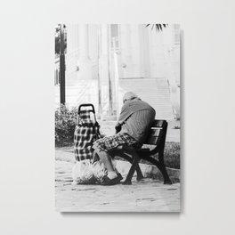 Man sitting on bench after shopping Metal Print