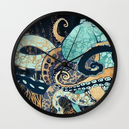 Metallic Octopus II Wall Clock