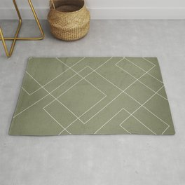 Overlapping Diamond Lines on Sage Green  Rug