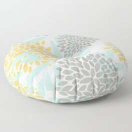 Floral Prints, Leaves and Blooms, Yellow, Gray and Aqua Floor Pillow