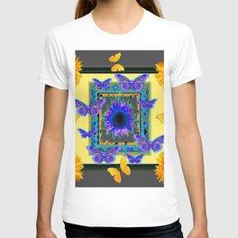 PURPLE & YELLOW BUTTERFLIES SUNFLOWER DESIGN T-shirt