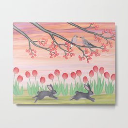 bunnies, tulips, and mourning doves Metal Print
