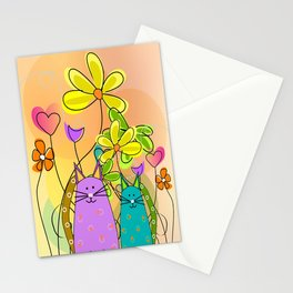 Whimsical Cats and Flowers II Stationery Cards