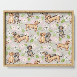 Dachshunds and dogwood blossoms Serving Tray