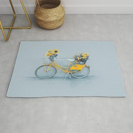 Yellow vintage bike with sunflowers Rug
