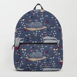 Sleepy Cat Dreams Pattern, Blue Grey Backpack