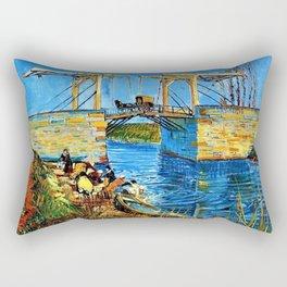 The Langlois Bridge at Arles by Vincent van Gogh Rectangular Pillow