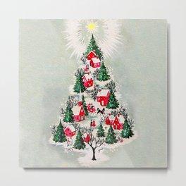 Vintage Christmas Tree Village Metal Print