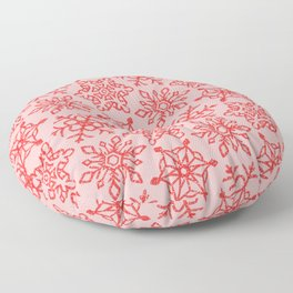 Snowflakes Pattern - Pastel Pink and Red Floor Pillow