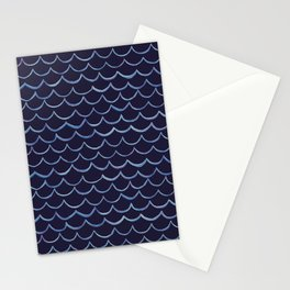 watercolour waves on navy Stationery Cards