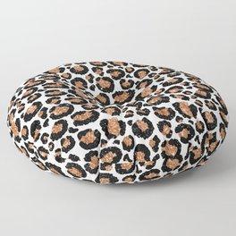 Leopard Metal Glamour Skin on white Floor Pillow