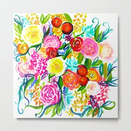 Bright Colorful Floral painting Metal Print