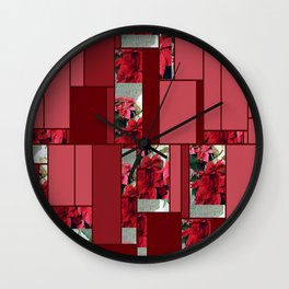 Mixed color Poinsettias 3 Art Rectangles 8 Wall Clock