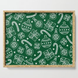 Christmas Doodle Pattern Serving Tray
