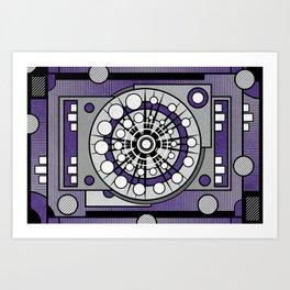 Unit 635 - Ultra Violet Geometric Digital Abstract Art Print