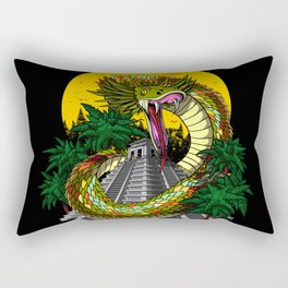 Aztec God Quetzalcoatl Snake Mayan Pyramid Rectangular Pillow