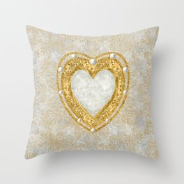Heart  Shaped Brooch with Raw Diamond and Pearls Throw Pillow