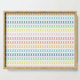 Rainbow cross stitch on white Serving Tray