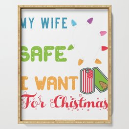 Wife Home Safe for Christmas Spouse Military Deployment  Serving Tray