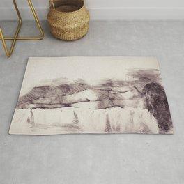 Lying on the bed. Nude studio Rug