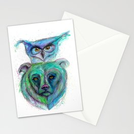 Owl and Bear Totem Stationery Cards