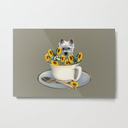 Terrier dog in coffee cup with yellow sunflowers Metal Print