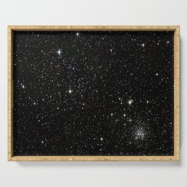 Universe Space Stars Planets Galaxy Black and White Serving Tray