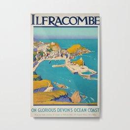 On glorious Devons Ocean Coast Vintage Travel Poster Metal Print