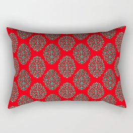 Birds and Flowers Baroque Pattern - Red Teal Rectangular Pillow