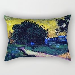 Field with Trees, the Chateau of Auvers by Vincent van Gogh Rectangular Pillow