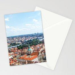 Prague Cityscape | Red Rooftop Old World Bridge Majestic European City Landscape Photograph Stationery Cards