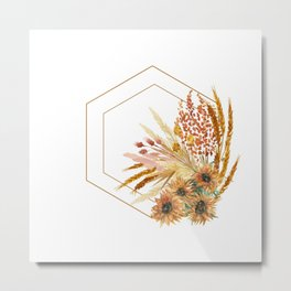Hexagon Fall Wreath Metal Print