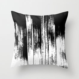 Modern black white watercolor brushstrokes pattern Throw Pillow