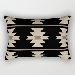Southwestern Pattern 132 Black and Beige Rectangular Pillow