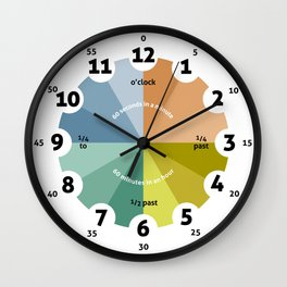 Learning Clock, natural, gifts for teachers, teaching time, classroom, playroom decor, nursery deco Wall Clock