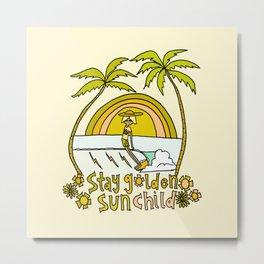 stay golden sun child surf dude //retro surf art by surfy birdy Metal Print