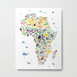 Animal Map of Africa for children and kids Metal Print
