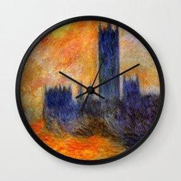House of Parliament, London, Sun Breaking Through the Fog by Claude Monet Wall Clock