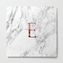 Monogram rose gold marble E Metal Print