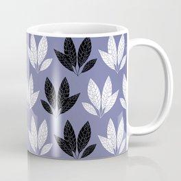 White and black leaves in purple background Coffee Mug
