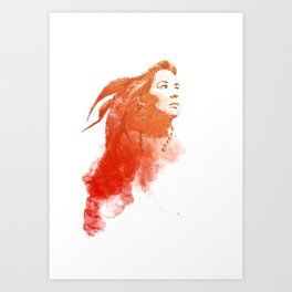 smoky re woman with long hair Art Print