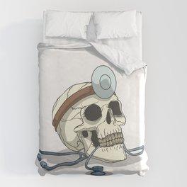 Skeleton doctor with stethoscope Duvet Cover
