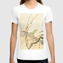 Songbird on peach tree - Vintage Japanese Woodblock Print Art T-shirt