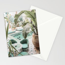 Travel Photography Art Print | Tropical Plant Leaves In Marrakech Photo | Green Pool Interior Design Stationery Cards