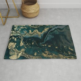 Abstract Pour Painting Liquid Marble Abstract Dark Green Painting Gold Accent Agate Stone Layers Rug