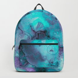 Abstract lilac teal aqua watercolor pattern Backpack