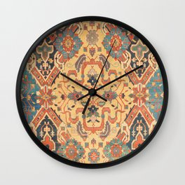 Geometric Leaves IX // 18th Century Distressed Red Blue Green Colorful Ornate Accent Rug Pattern Wall Clock