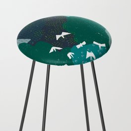 M+M Emerald Forest Bird's Eye View by Friztin Counter Stool