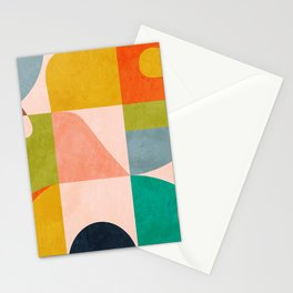 mid century abstract shapes spring I Stationery Cards